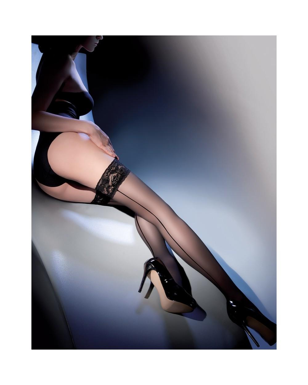 Bas couture noir dentelle Lycra