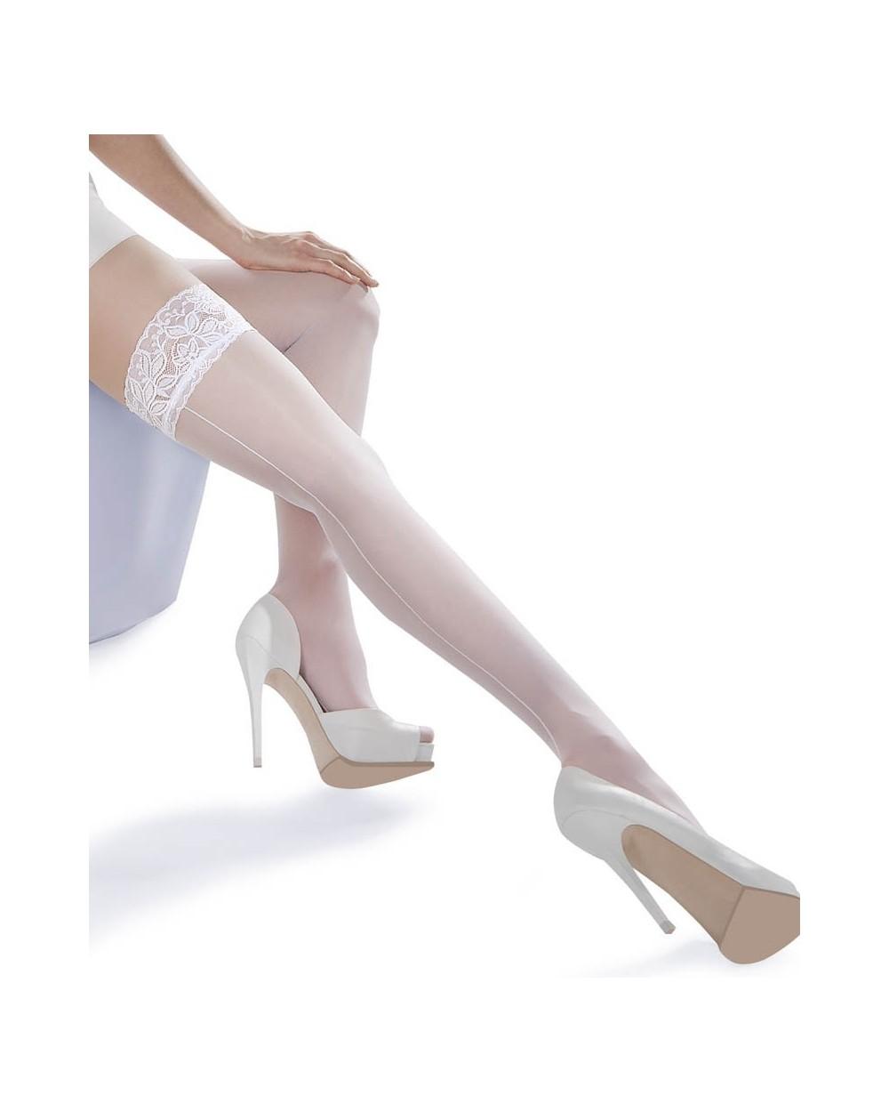 Bas couture blanc autofixant Lycra