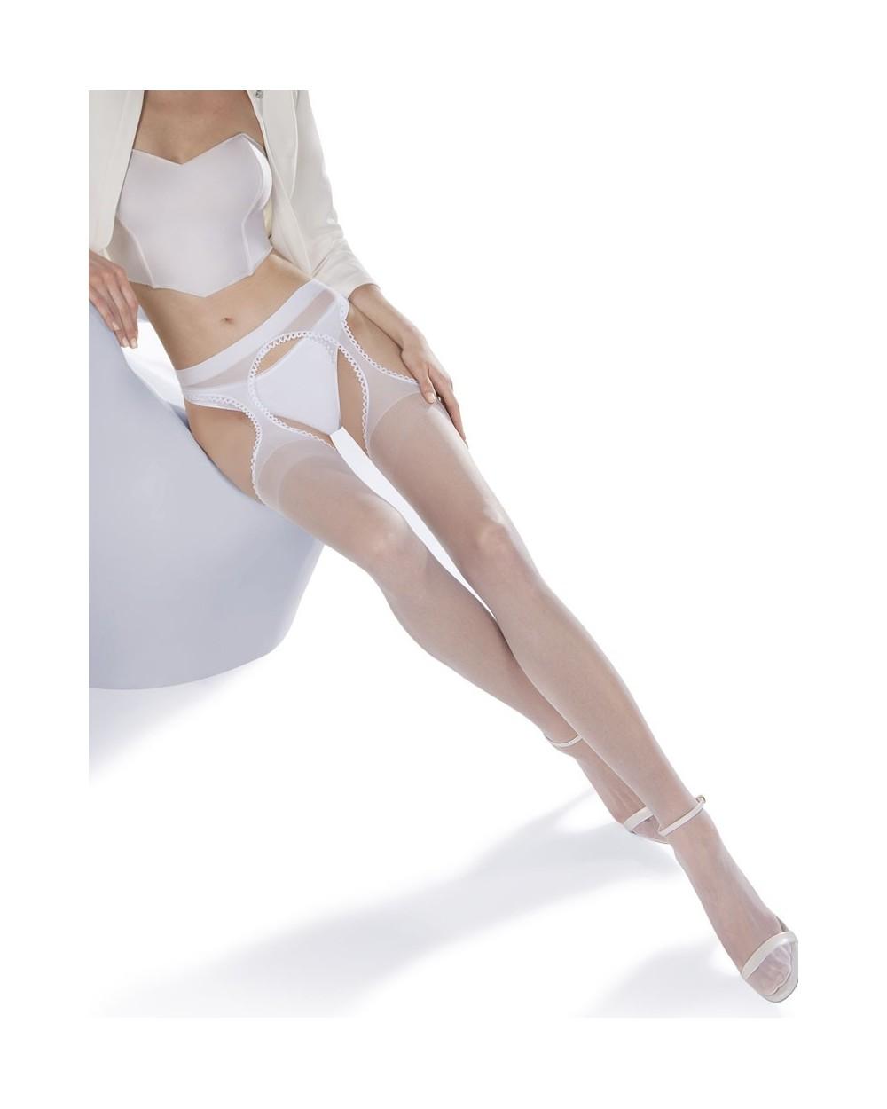 Collant porte-jarretelles intégré blanc