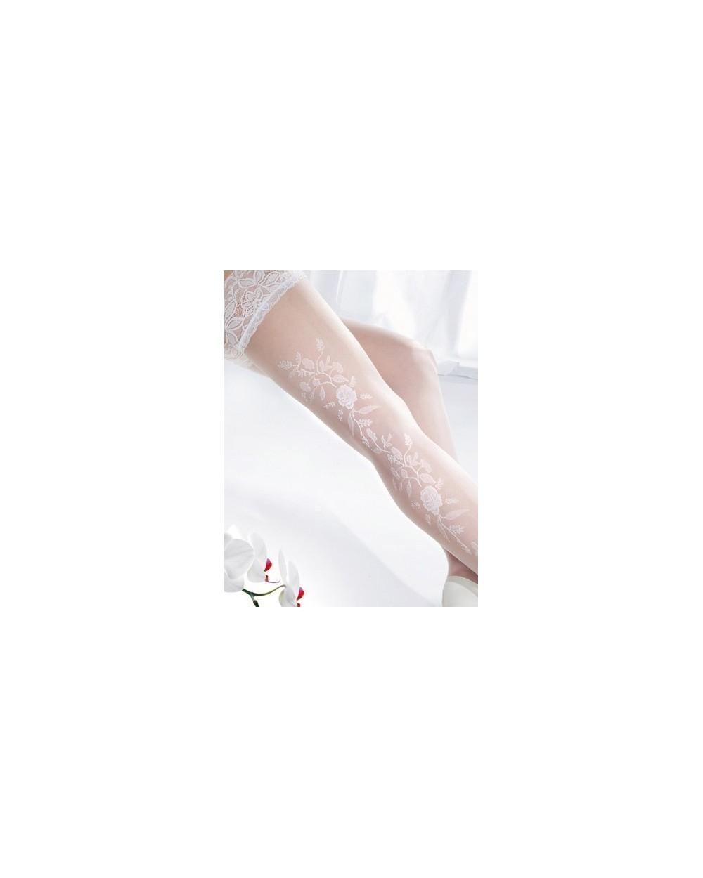 Bas motif floral mariage blanc