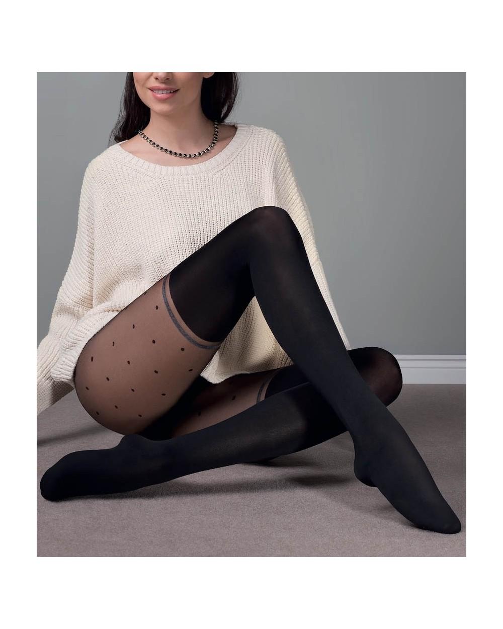 Collant opaque motif chaussettes hautes et pois