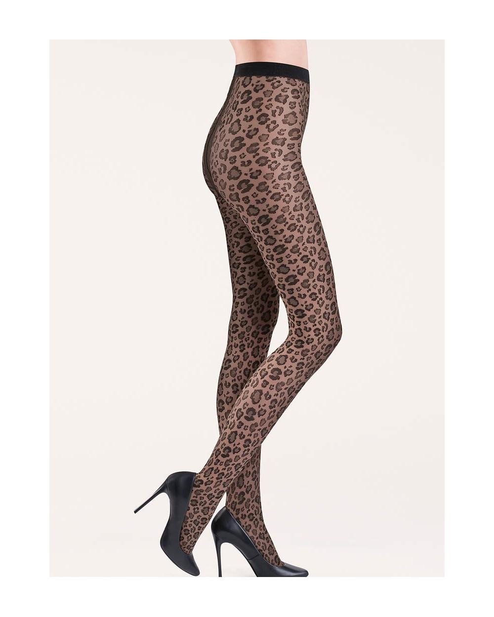 Collant fantaisie léopard noir ou beige Caty