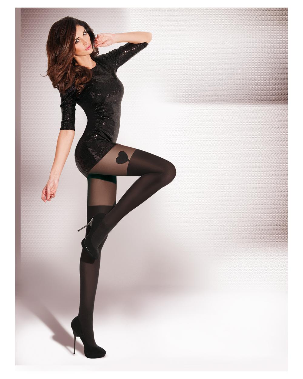 Collant AVILA Coeur, chaussette noire opaque