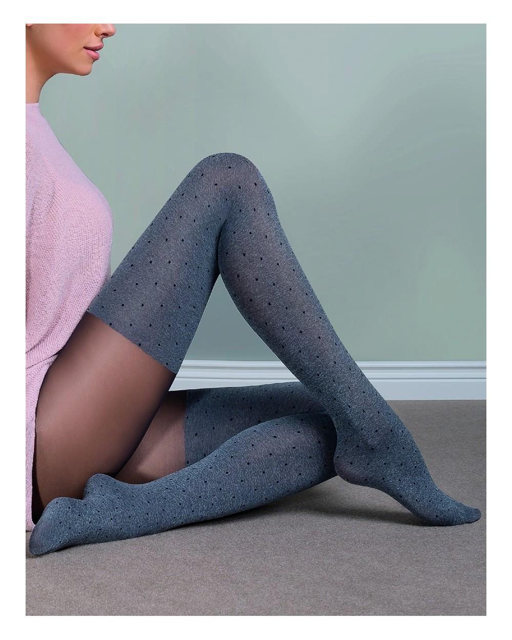 Collant opaque effet chaussettes à pois